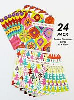 24 Pack x Colourful Modern Christmas Cards - Square 12 x 12cm