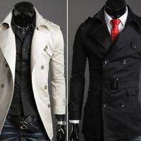 Men's Long Trench Coat Double Breasted Pea Coat Winter Jacket Overcoat Outwear