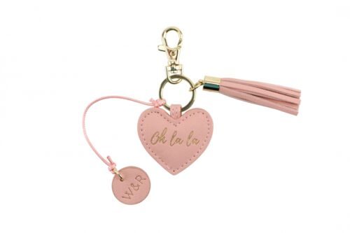 Willow /& Rose Heart Keyring with Tassle /& Gold Clip POP290 Navy Teal Pink