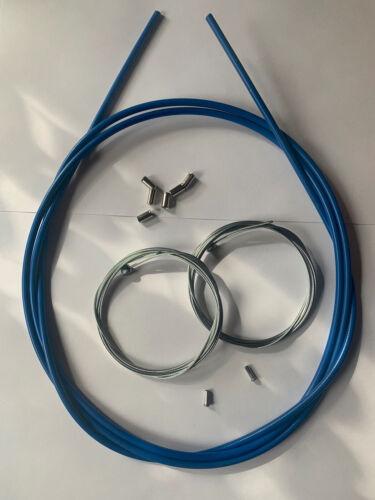 Bowdenzug Set Bremse Hülle Bremszug Endhülsen Endkappen  vorne u hinten blau