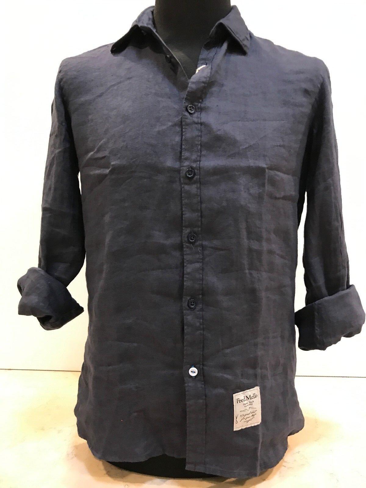 FRED MELLO MELLO MELLO Camicia uomo blu in lino manica lunga targhetta con logo in basso 3296a2