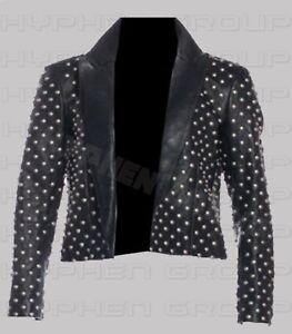 NUOVO-fatto-a-mano-donna-completo-con-Borchie-Argento-Punk-BRANDO-in-cuoio-in-pelle-giacca-a-camicia
