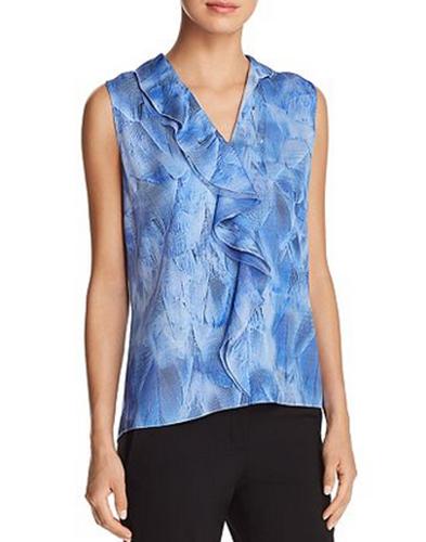 ELIE TAHARI Adreena asymmetris seda con volantes sin  mangas azulsa LT Azul Talle Xs Nuevo sin etiquetas  descuento de ventas en línea
