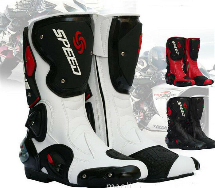 Carreras De Motos Pro Bike Velocidad Motocross botas de cuero impermeable fibra de alta