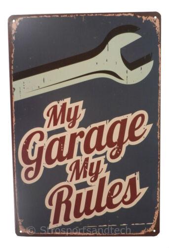 Garage Rules Mechanic Tin Sign Bar Cafe Diner Wall Decor Retro Metal Vintage New