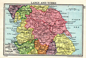 Map-Of-Lancashire-amp-Yorkshire-York-Lincoln-John-Bartholomew-Vintage-1951