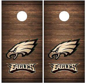 Philadelphia Eagles Vintage Wood Cornhole Board Decal Wrap