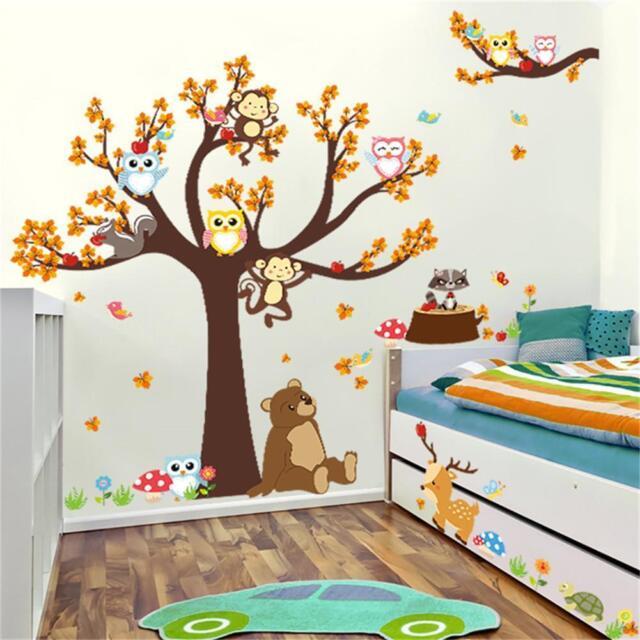 Wall Stickers Cartoon Forest Animal Monkey Tree Owl Baby Kid Room Decal  Decor