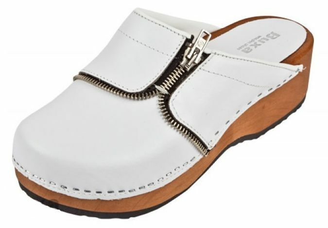 Women   Wooden  leather medical clogs     White color  PZM  US shoes Size