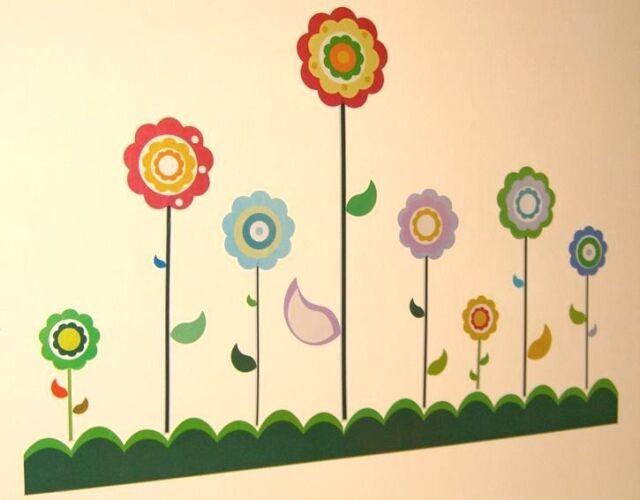 Nursery Childrens Kids Girls Flowers Wall Stickers Furniture Decals ...