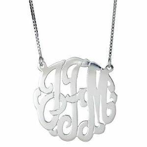 .925 Sterling Silver Custom Three Letter Initial Monogram Pendant Necklace