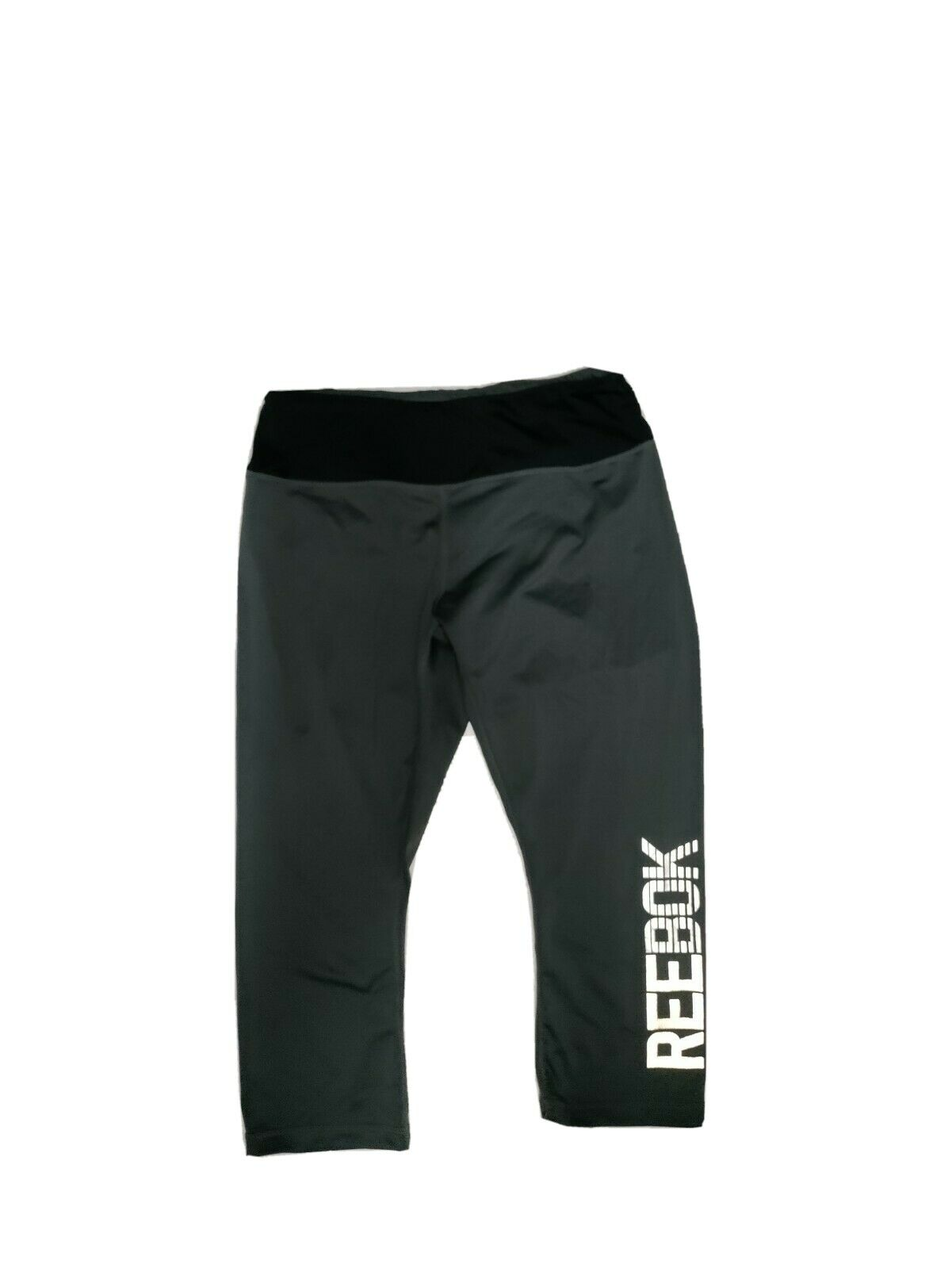 Reebok Womens M Athletic Reflective Big Logo Poly Spandex Capri Stretch Leggings
