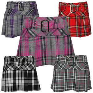 Ladies-Womens-Buckled-Tartan-Side-Pleat-Back-Zip-Short-Mini-Skirt-UK-6-16