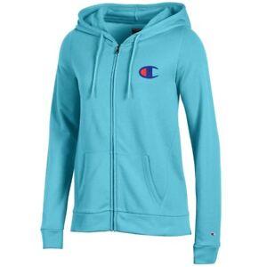 Champion-Reverse-Weave-Logo-Women-039-s-Turq-Waters-University-Full-Zip-Hoodie
