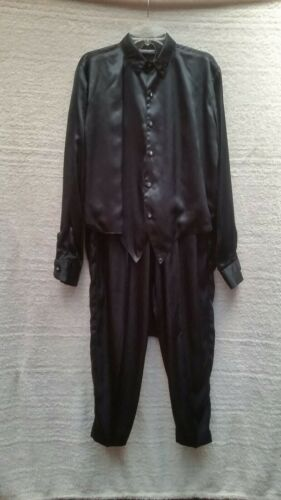 VINTAGE MARK WONG NARK BLACK SATIN TOP & PANTS SET