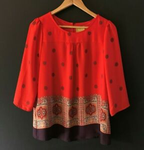 Anthropologie-Maeve-Womens-Rila-Bordered-Blouse-Red-Popover-3-4-Sleeve-Top-sz-8