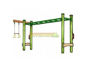 Details About Diy 3m Monkey Bar With Trapeze Set Kit Wood Steel Playground Backyard Kids Green