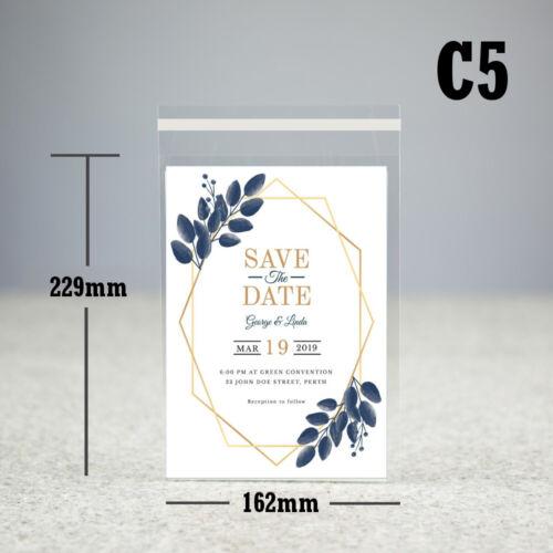 "Clear Carte affichage Sacs auto-adhésif cello sac C4 C5 C6 C7 5/""X5/"" Peel /& Seal"