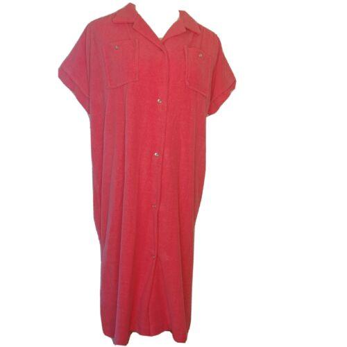 Vintage Katz Women's XL Pink Terry Cloth Pearl Sna