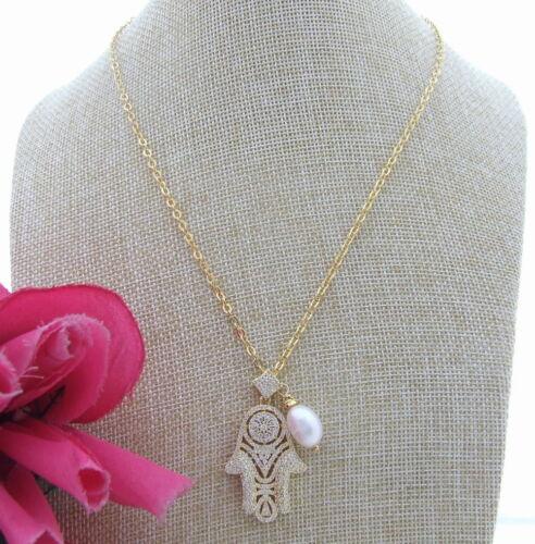 "19/"" White Rice Pearl Gold Plated Chain Necklace Hamsa Cz Pendant"