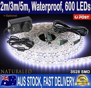 2m 3m 5m 600 led strip lights cool white 12v waterproof flexible image is loading 2m 3m 5m 600 led strip lights cool aloadofball Gallery