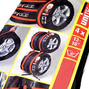 4-x-Reifentaschen-UNITEC-Auto-Reifen-Schutz-Set-fuer-Autoreifen-Schwarz-Rot