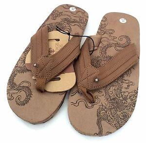 1f6a8ef85bbb Vintage Stone Dragon Men s Brown Flip Flops Sandals Adult Med 8 9 ...