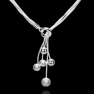 Stunning-Women-039-s-925-Sterling-Silver-Filled-Ball-Beads-Drop-Necklace-Chain-Gift