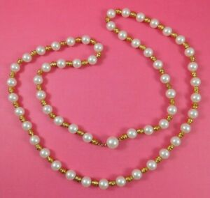 Vintage-Faux-Pearl-Gold-Tone-Nuggets-Beaded-Necklace-38-Inches