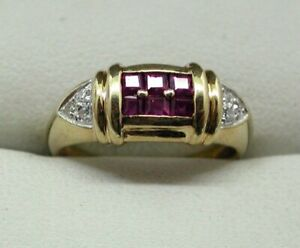 Vintage-Lovely-9-carat-Gold-Ruby-And-Diamond-Ring-Size-L