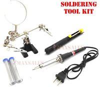 Soldering Tool Kit 60w Solder Iron, (2) Solder Wire, Helping Hand & Pump
