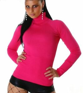 SeXy-Damen-Pulli-Rollkragen-Fein-Strick-Rolli-Pullover-pink-34-36-38-TOP-NEU