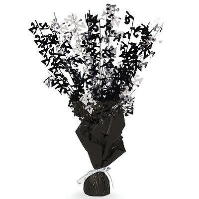 "16"" Happy 21st Birthday Black Sparkle Foil Weight Table Centerpiece Decoration"