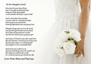 Image Is Loading A4 Poem To Your Daughter On Her Wedding