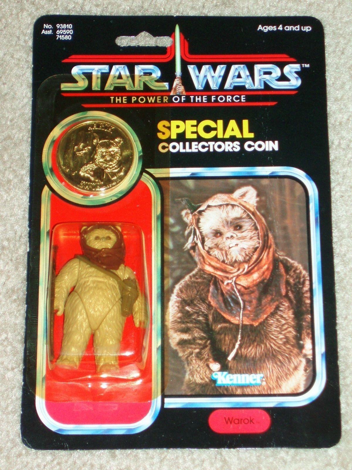Retro Star Wars 1985 Kenner Warok Ewok Potf 92 tarjeta trasera Moc AFA él