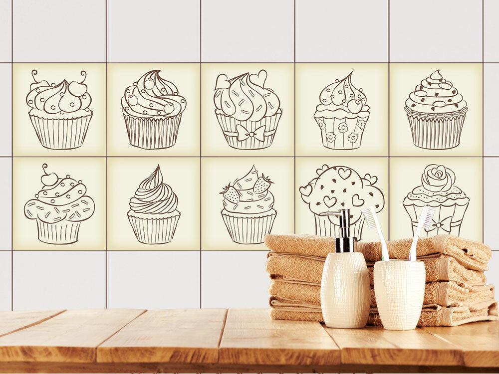 Fliesenaufkleber Küche 15x15 10x10 20x20cm Fliesenfolie Vintage Retro Cupcakes