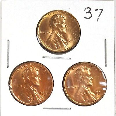 Trio of 1949 P-D-S uncirculated Lincoln Wheat Cents