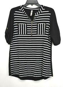 Penseption Concept Womens Black & White Short Sleeve 1/4 Zip Striped Shirt Sz M