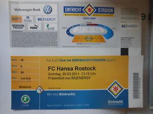 Biglietti PER CALCIO. EINTRACH BS-FC Hansa Rostok non valido
