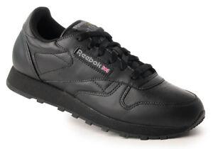 Reebok-WMNS-classis-Leather-Sneaker-Donna-Scarpa-Tempo-Libero-Sport-Lacci-Nero