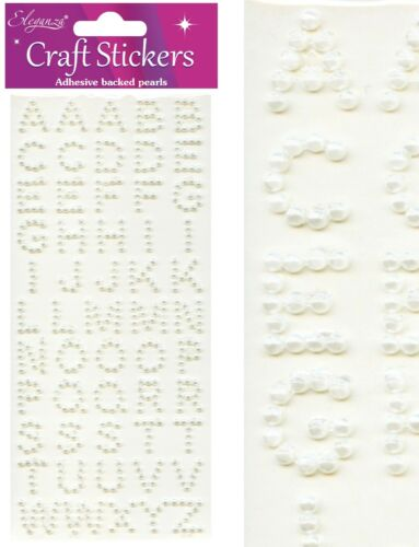 Pearl Bead Self Adhesive Alphabet Letters Numbers Sticker Craft Embellishments