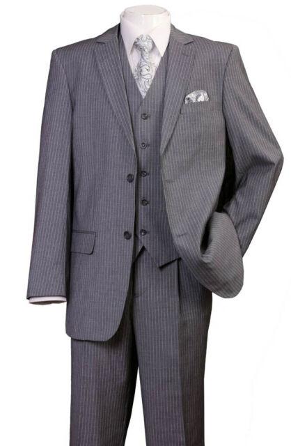 Mens fancy wool feel suit 3 pc w//Vest 3 button striped design Brown//Strip 5802V4
