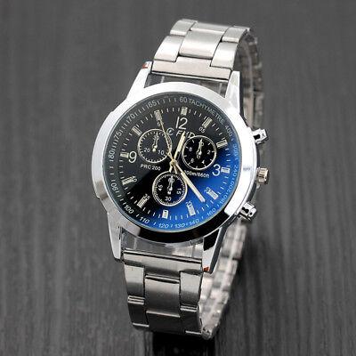Men's Sport Watch Stainless Steel Leather Analog Dial Quartz Wrist Watch New