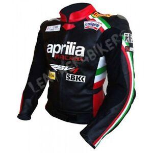 APRILIA-Courses-Moto-Cuir-Veste-Hommes-Cuir-Biker-Veste-Sport-Cuir-Veste-EU-56
