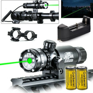 Tactical-Hunting-Rifle-Green-Laser-Sight-Dot-Scope-With-Battery-amp-Charge-w-Mounts