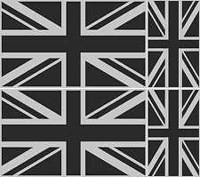 4 UNION JACK FLAG METALLIC SILVER AND BLACK GREAT BRITAIN VINYL ENGLAND STICKER