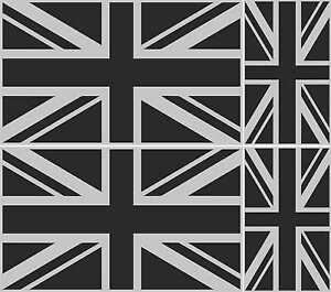 4 UNION JACK FLAG METALLIC SILVER AND BLACK GREAT BRITAIN VINYL ENGLAND STICKER