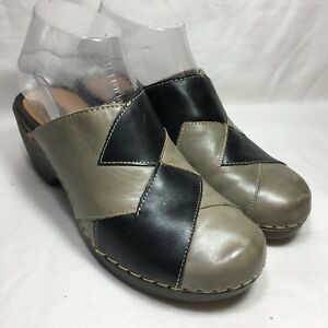 Spring-Step-Dimension-Women-s-Black-Gray-Leather-Shoes-Clogs-EUR-36-US-5-5-6
