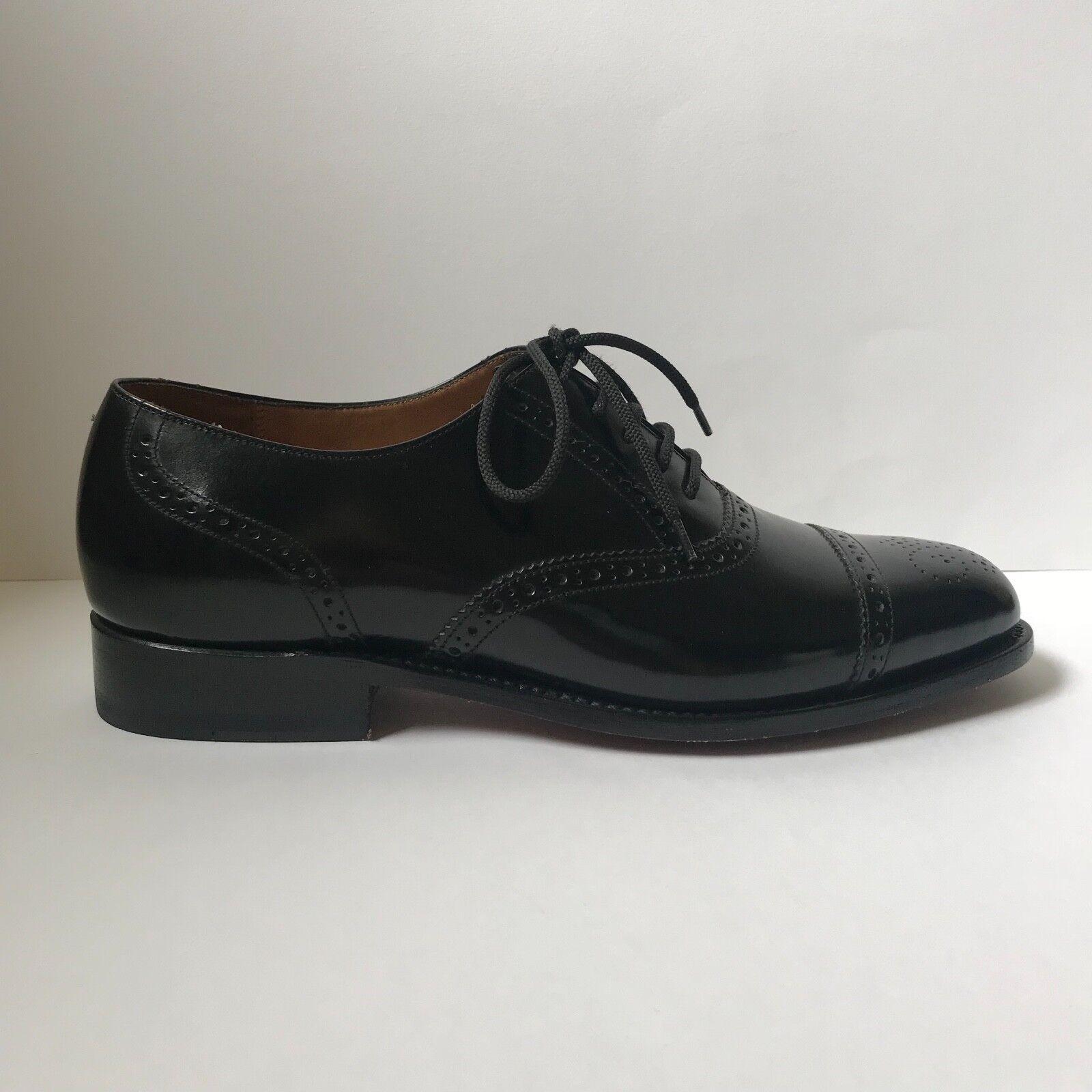 Barker England Black Leather Traditional Semi-Brogue shoes UK 7 G Fitting EU 41