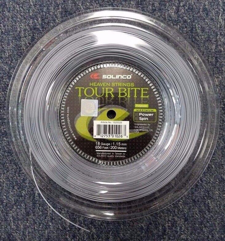 Solinco Tour Bite calibre 18 1.15mm 656' 200m Carrete De Cuerdas De Tenis Nuevo